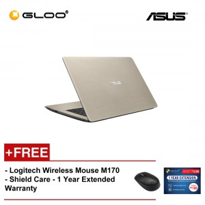 """ASUS A407M-ABV037T Notebook (N4000,4GB,500GB,14"""",W10,GLD) [FREE] Logitech Wireless Mouse M170 + Shield Care 1 Year Extended Warranty"""