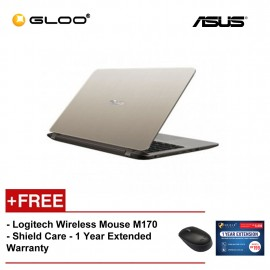 """ASUS Vivobook A407U-ABV363T (i3-8130,4GB,1TB,14"""",W10,GOLD) [FREE] Logitech Wireless Mouse M170 + Shield Care 1 Year Extended Warranty"""