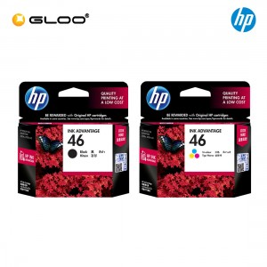 [2 Units] HP 46 Black Original Ink Advantage Cartridge CZ637AA + HP 46 Tri-color Original Ink Advantage Cartridge CZ638AA
