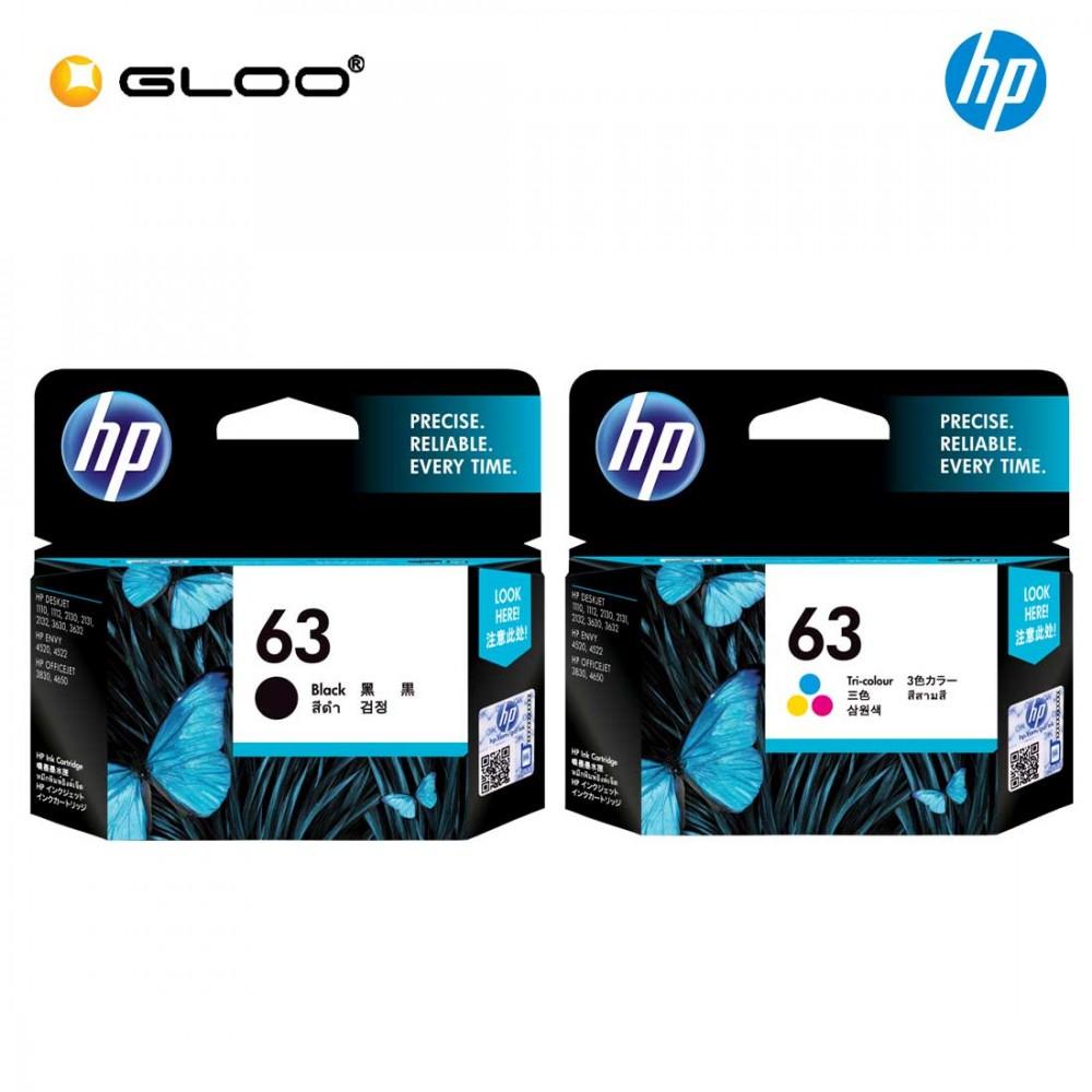 2 Cartridges HP 63 Black /& Tri-color Original Ink Cartridges