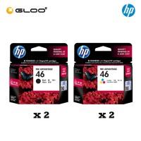[4 Units] HP 46 Black Original Ink Advantage Cartridge CZ637AA x2 + HP 46 Tri-color Original Ink Advantage Cartridge CZ638AA x2