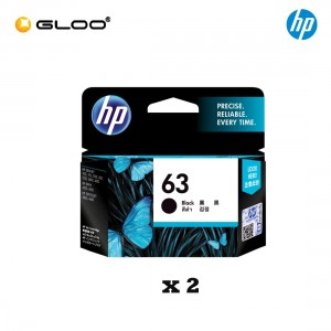 [2 Units] HP 63 Black Original Ink Advantage Cartridge F6U62AA