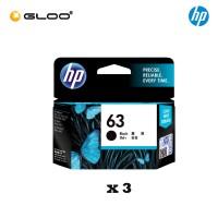 [3 Units] HP 63 Black Original Ink Advantage Cartridge F6U62AA