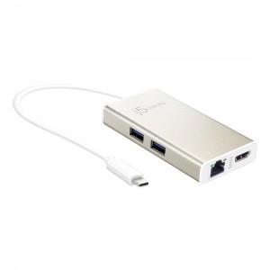 J5 USB Type-C Multi-Adapter (HDMI/Ethernet/USB 3.1 HUB/PD 2.0) JCA374