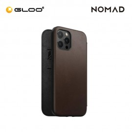 """Nomad Leather Rugged Folio Case iPhone 12 Pro Max 6.7"""" - Brown 856500019178"""