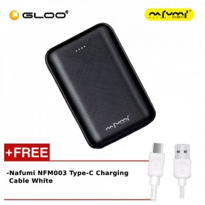 Nafumi B180 10000Mah Power Bank Black + Nafumi NFM003 Type-C Charging Cable White