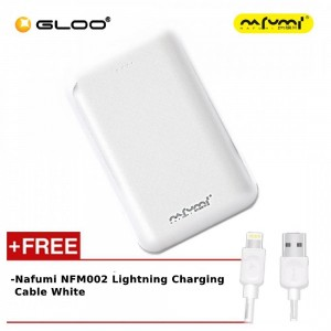Nafumi B180 10000Mah Power Bank White + Nafumi NFM002 Lightning Charging Cable White