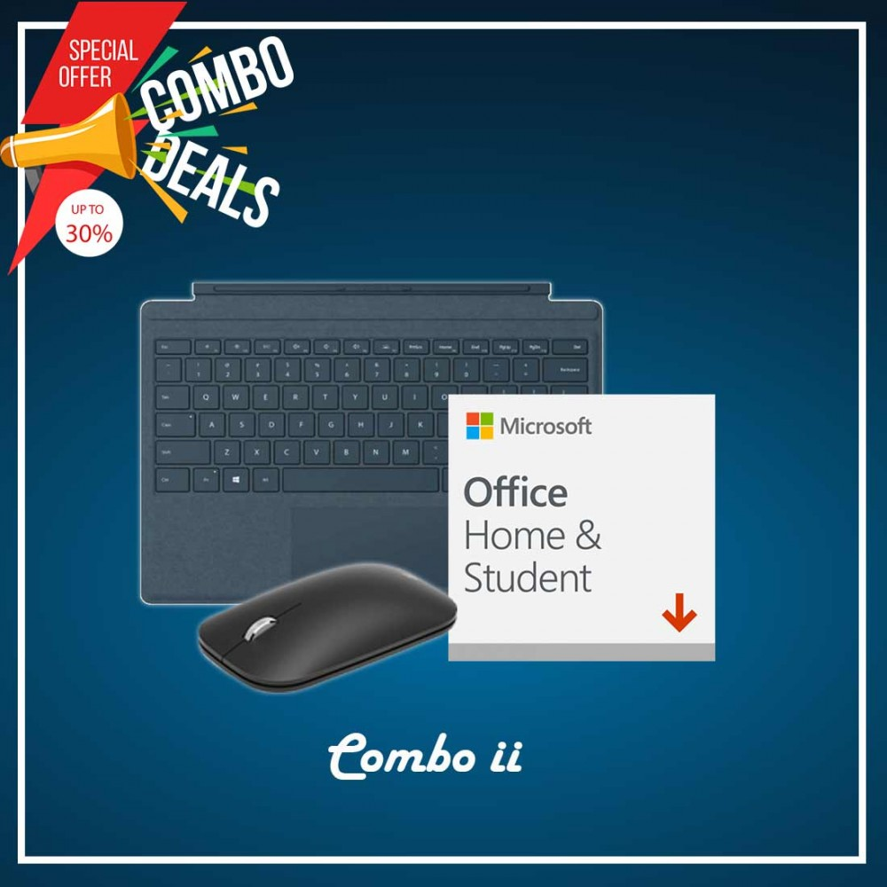 [COMBO II] Surface Go Type Cover Teal + H&S (ESD) + Mobile Mouse Bluetooth Black