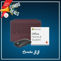 [COMBO JJ] Surface Go Type Cover Burgundy + H&S (ESD) + Mobile Mouse Bluetooth Black