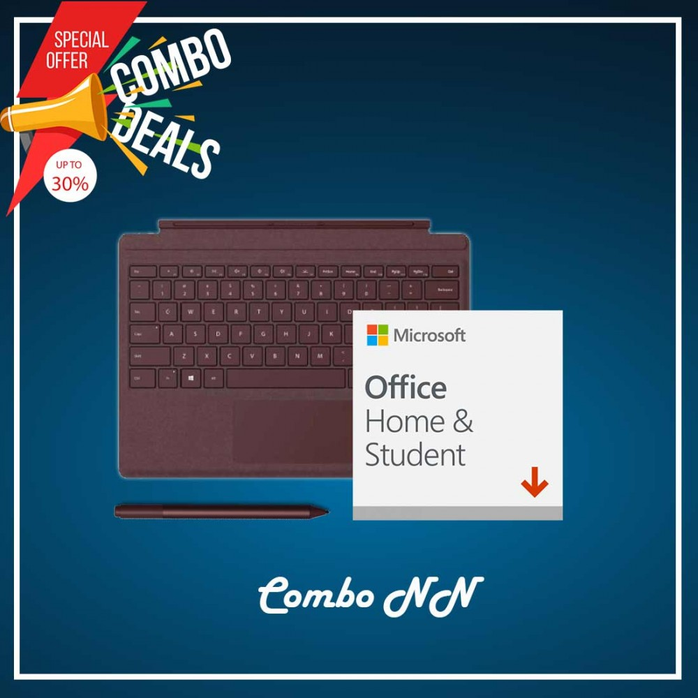 [COMBO NN] Surface Go Type Cover Burgundy + Office 365 Home & Student (ESD) + Surface Pen Burgundy