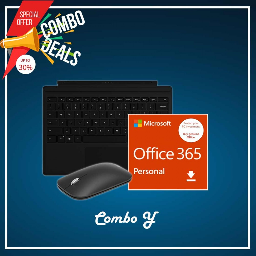 [COMBO Y] Surface Go Type Cover Black + Office 365 Personal (ESD) + Mobile Mouse Bluetooth Black + Surface Pen Black