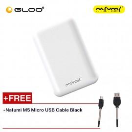 Nafumi B180 10000Mah Power Bank White Free Nafumi M5 Micro USB Cable Black