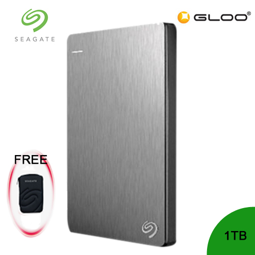 Seagate Backup Plus Portable Drive 1TB - Silver STDR1000301 [FREE Hard Pouch Casing]