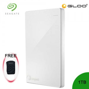 Seagate Backup Plus Portable Drive 1TB - White STDR1000307 [FREE Hard Pouch Casing]