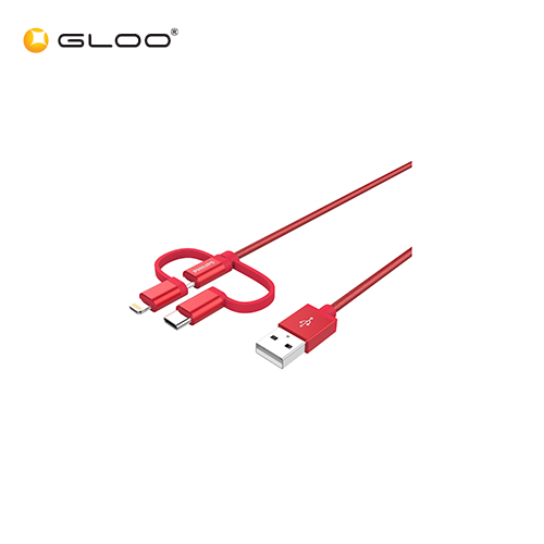 Philips USB Charging Cable USB-A to Micro USB MFI & Type C 2.0(3in1)Charge/SYNC Red 4895185633558