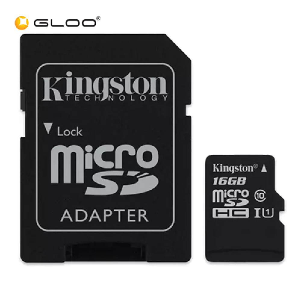 Kingston 16GB microSDHC Memory Card Class 10 with SD Adapter - Black