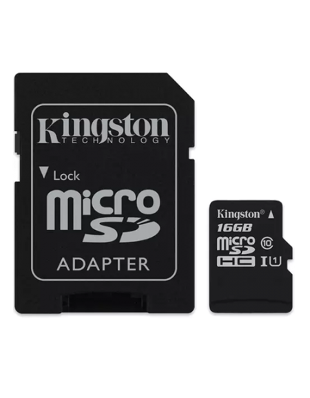 Kingston16GB microSDHC Memory Card Class 10 with SD Adapter- Black