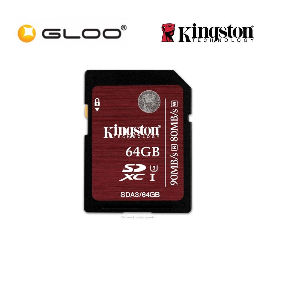 Kingston 64GB SD Card - Impressive UHS-I Speed Class 3, for 4K / 2K Video (SDA3/64GB)