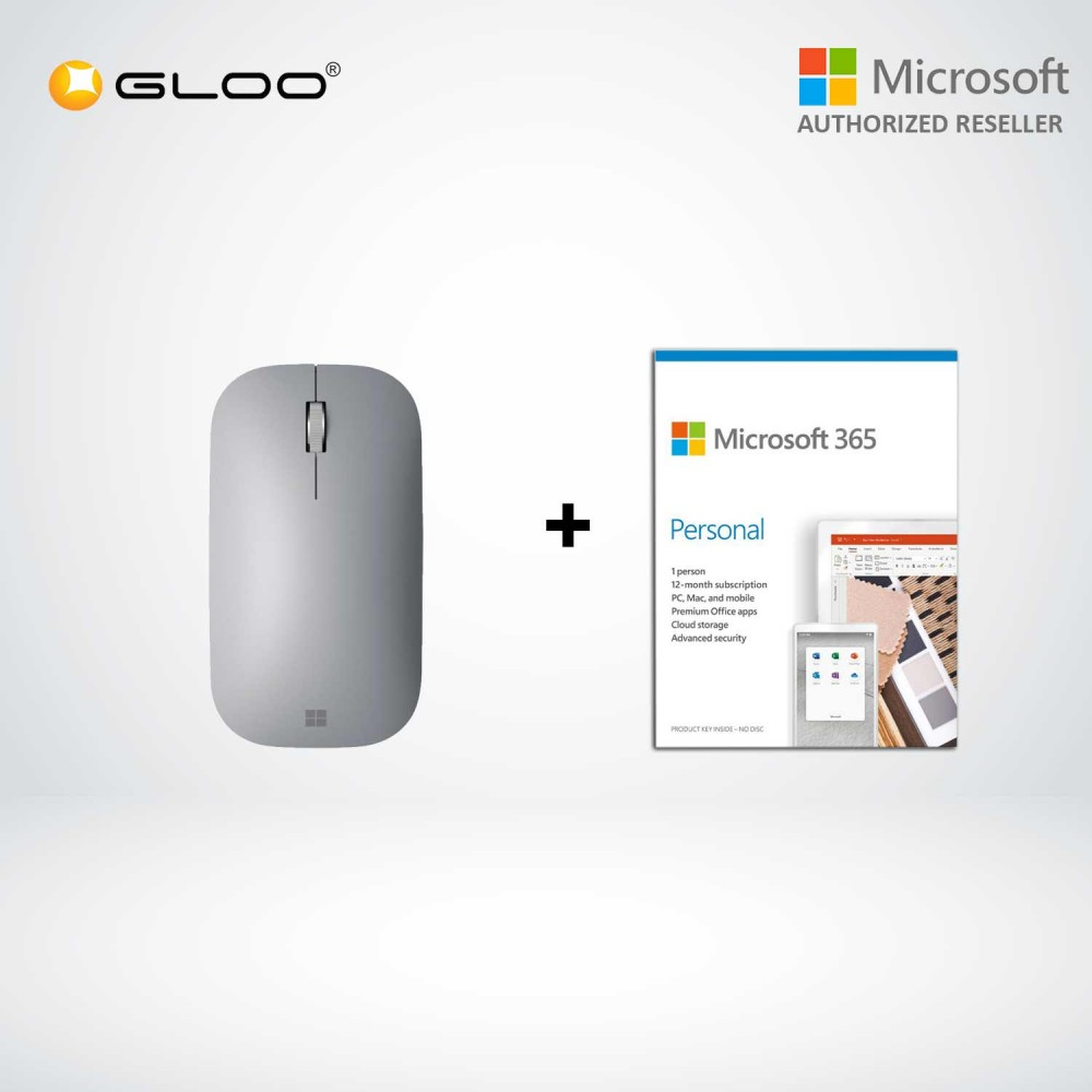 Microsoft Surface Mobile Mouse SC Bluetooth XZ/ZH/KO/TH Hdwr Platinum KGY-00005 + 365 Personal (ESD)