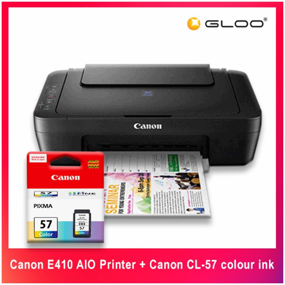 Canon E410 AIO Printer + Canon CL-57 colour ink