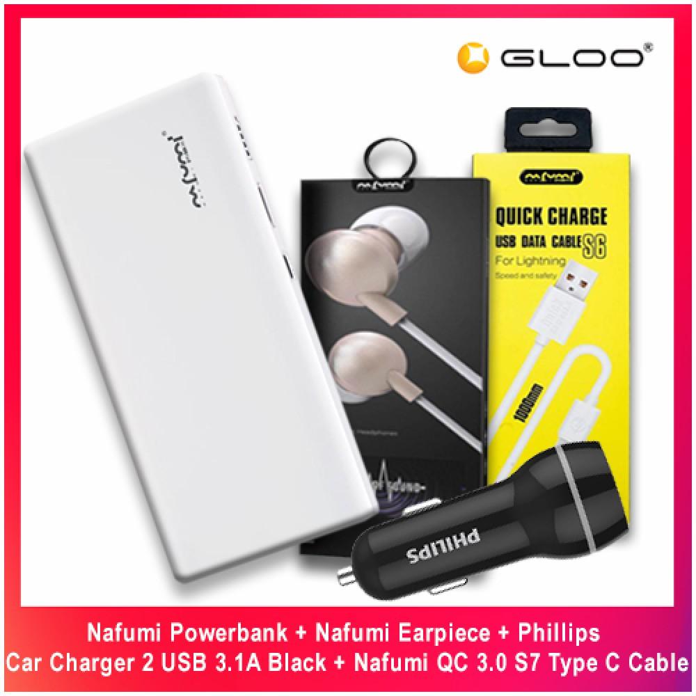 Nafumi Powerbank + Nafumi Earpiece + Phillips Car Charger 2 USB 3.1A Black + Nafumi QC 3.0 S7 Type C Cable