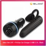 Jabra Talk 2 BT + Phillips Car Charger 2 USB 3.1A - Black - 4895185629988