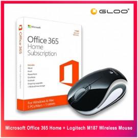 Microsoft Office 365 Home + Logitech M187 Wireless Mouse