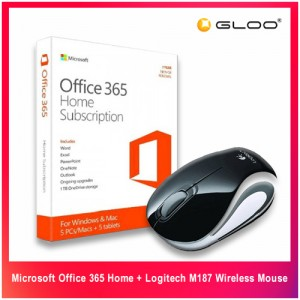 Microsoft Office 365 Home + Logitech M187 Wireless Mouse