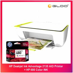 HP Deskjet Ink Advantage 2135 AIO Printer + HP 680 Color INK
