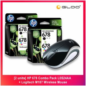 [2 units] HP 678 Combo Pack L0S24AA + Logitech M187 Wireless Mouse