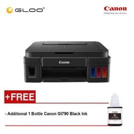 Canon Pixma G2000 AIO Ink Tank Printer - Black [Free Additional 1 Bottle Canon GI790 Black Ink]