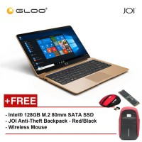 """JOI Book 100 A147G 14"""" FHD (Cel N3450, 4GB, 32GB, Intel HD 500, W10) - Gold [Free Intel® 128GB M.2 80mm SATA SSD + JOI Anti-Theft Backpack - Red/Black + Wireless Mouse]"""