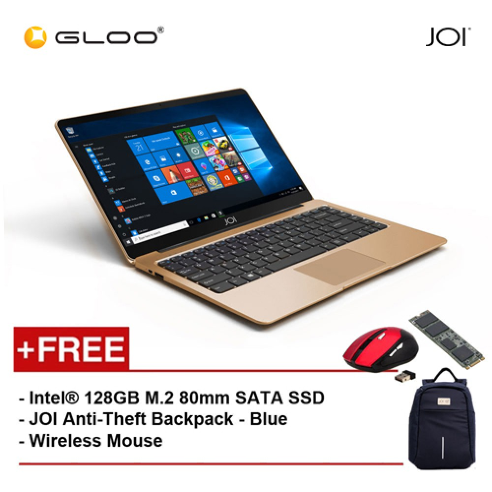 "JOI Book 100 A147G 14"" FHD (Cel N3450, 4GB, 32GB, Intel HD 500, W10) - Gold [Free Intel® 128GB M.2 80mm SATA SSD + JOI Anti-Theft Backpack - Blue + Wireless Mouse]"
