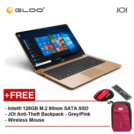 """JOI Book 100 A147G 14"""" FHD (Cel N3450, 4GB, 32GB, Intel HD 500, W10) - Gold [Free Intel® 128GB M.2 80mm SATA SSD + JOI Anti-Theft Backpack - Grey/Pink + Wireless Mouse]"""