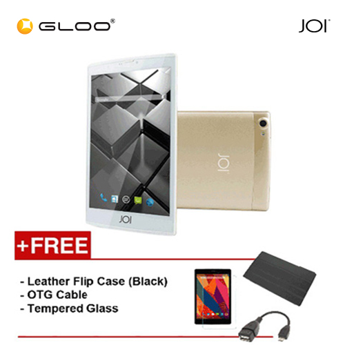 JOI 7 Lite 4G Gold -IW-Q77CG {Free Leather Flip Case- Black + Tempered Glass Screen Protector + OTG Cable}