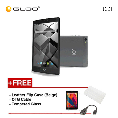 JOI 7 Lite 4G Dark Grey -IW-Q77DG {Free Leather Flip Case- Beige + Tempered Glass Screen Protector + OTG Cable}