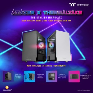AMAZER X Thermaltake 3200 (AMD Ryzen3 3200G,16GB,1TB HDD+512GB SSD,GTX1650 4GB,W10H/Pro)- with Thermaltake Water Cooling System