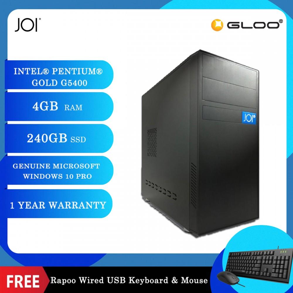 JOI PC 225 (Intel Pentium Gold G5400,4GB RAM,240GB SSD,W10Pro) Free Combo Wired Keyboard+Mouse