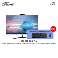 "JOI AIO (120 Pro) – PT-A120PR (Cel 3867U/4GB/240GB SSD/21.5""/W10P/Black) Free Wired USB Keyboard and Mouse"
