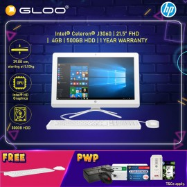 """HP Desktop 22-b404d AIO 21.5"""" FHD (Celeron J3060, 500GB, 4GB, Intel HD Graphics, W10) - White [FREE] HP Keyboard + Mouse (Grab/Touch & Go credit redemption : 1/8-31/10*)"""