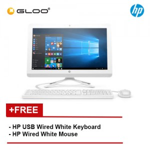 "HP Desktop 22-B405D AIO 21.5"" FHD (Pentium J3710, 500GB, 4GB, Intel HD Graphics 405, W10) - White [FREE] HP Keyboard + Mouse"