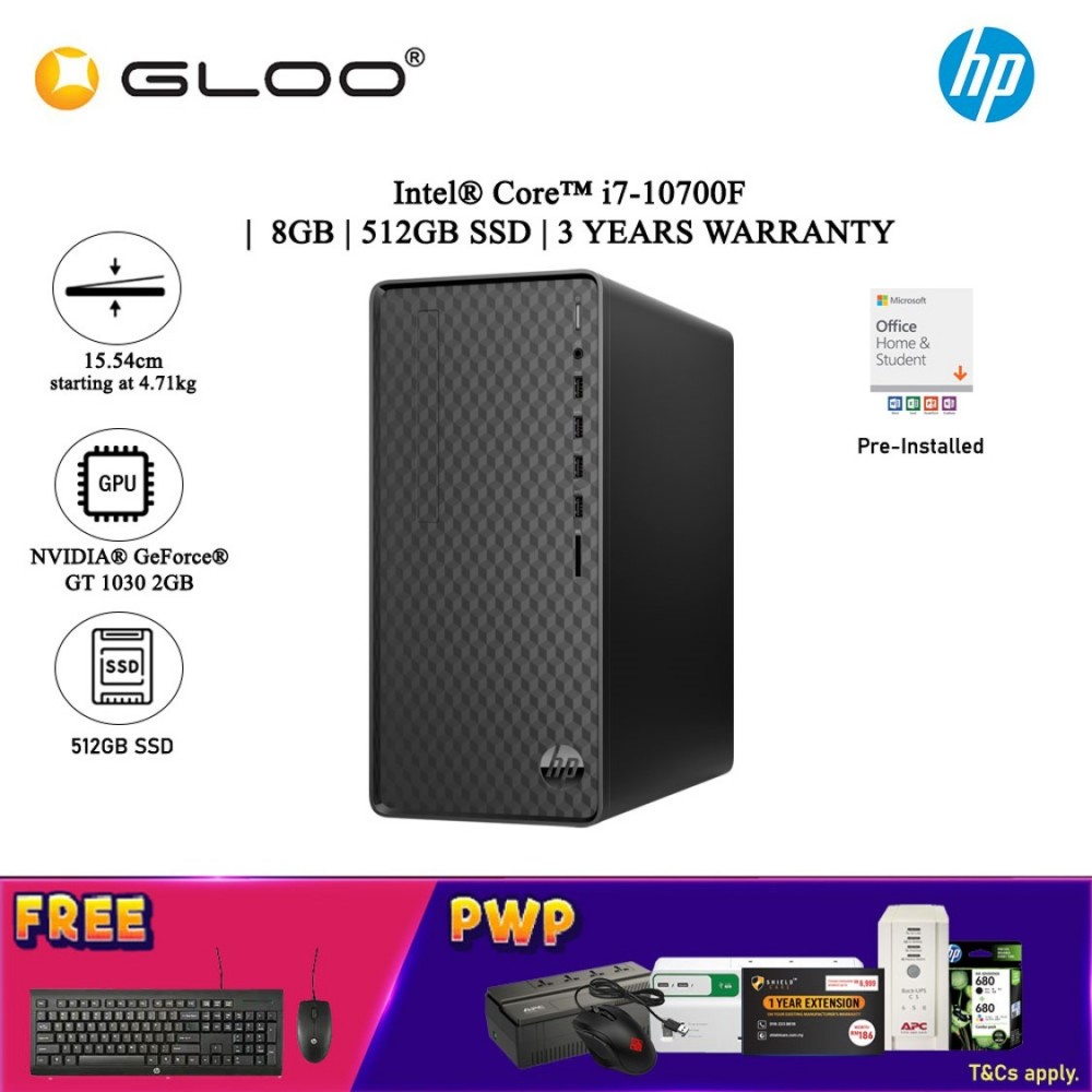 EW HP Desktop M01-F1072D (i7-10700F, 512GB SSD, 8GB, NVIDIA GT 1030 2GB, W10H) - Black [FREE] HP Wired Keyboard + HP Wired Mouse + Pre-Installed with Microsoft Office Home and Student (Grab/Touch & Go credit redemption : 1/8-31/10*)