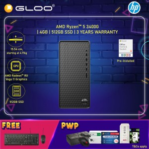 HP Desktop M01-D0204d (AMD Ryzen 5 3400G, 512GB SSD, 4GB, AMD Radeon RX Vega 11 Graphics, W10) - Black [FREE] HP Keyboard + HP Mouse + Pre-Installed with Microsoft Office Home and Student