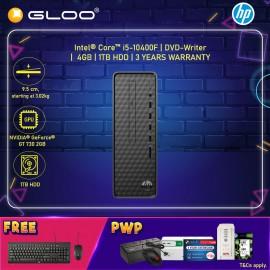 HP Slim Desktop S01-pf1139d (i5-10400F, 1TB HDD, 4GB, NVIDIA GT 730 2GB, W10) - Black [FREE] HP Keyboard + HP Mouse