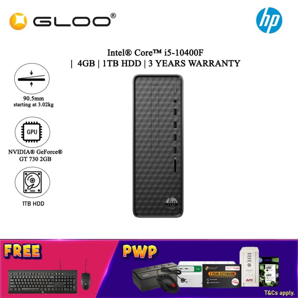 NEW HP Slim Desktop S01-pf1165d (i5-10400F, 1TB HDD, 4GB, NVIDIA GT 730 2G, W10H) - Black [FREE] HP Wired Keyboard + HP Wired Mouse (Grab/Touch & Go credit redemption : 1/8-31/10*)