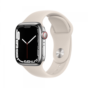 Apple Watch Series 7 GPS + Cellular, 41mm Silver Stainless Steel Case with Starlight Sport Band