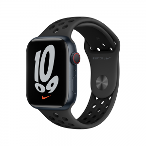 Apple Watch Nike Series 7 GPS + Cellular, 45mm Midnight Aluminium Case with Anthracite/Black Nike Sport Band MKL53ZP/A