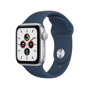 [2021] Apple Watch SE GPS, 40mm Silver Aluminium Case with Abyss Blue Sport Band