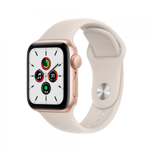 [2021] Apple Watch SE GPS, 40mm Gold Aluminium Case with Starlight Sport Band