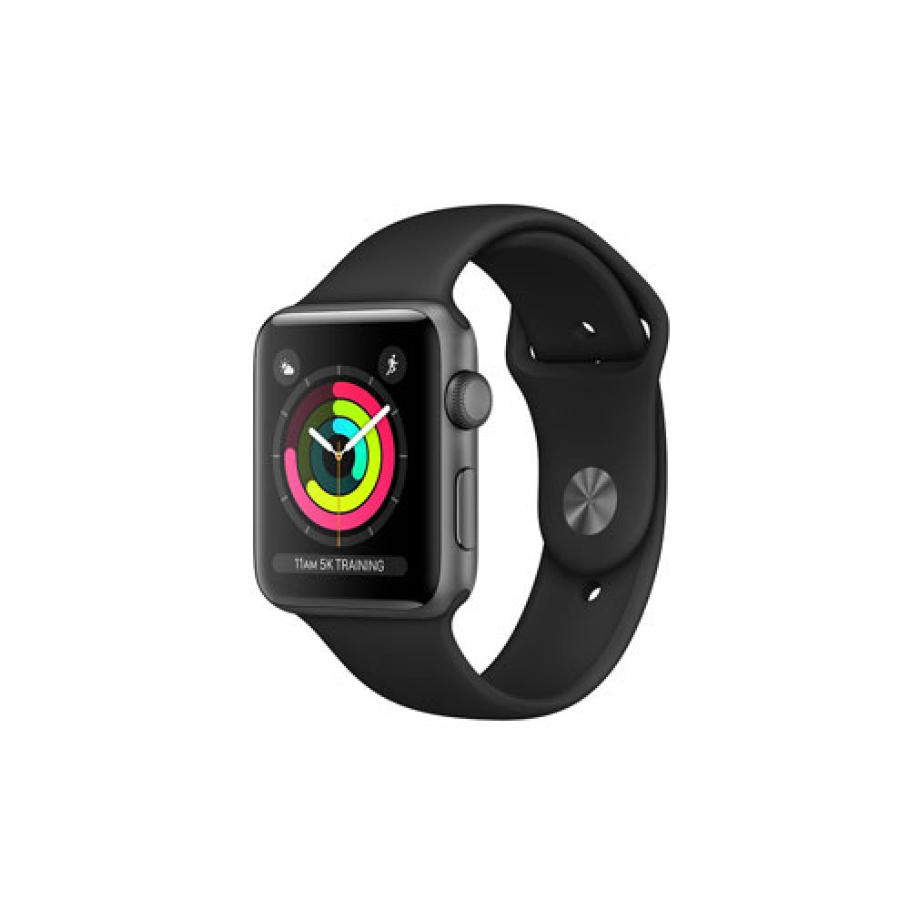 Apple Watch Series 3 GPS, 42mm Space Grey Aluminium Case with Black Sport Band MTF32TH/A